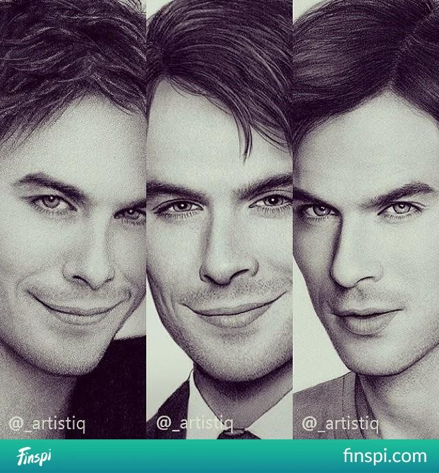 Ian Somerhalder x3 #drawing #ian somerhalder #photo #damon salvatore
