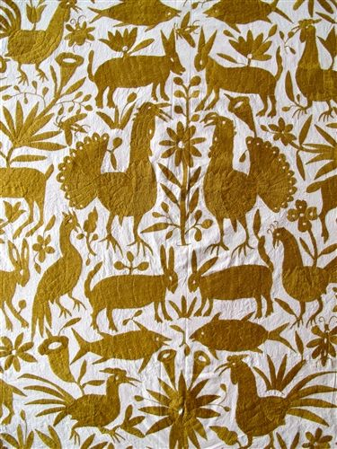 "Tenango (hand-embroidered blanket) handmade by the Otomi Indians of Hidalgo, Mexico — ""It is said the designs have been inspired from the ancient cliff paintings in the region."" I find that the asymmetry, despite general mirroring, gives life to the otherwise stationary animals."