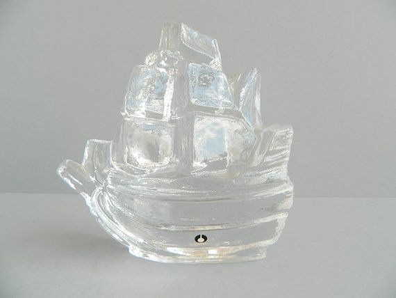 SALE - Pukeberg Sweden Glass Boat Sailing Ship Nautical Paperweight