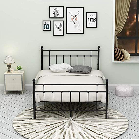 Amazon Com Metal Bed Frame Platform Assemble Easily Mattress On Top With Steel Headboard And Full Size Metal Bed Frame Metal Bed Frame Headboard And Footboard