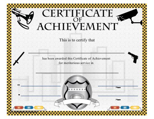 A printable certificate honoring meritorious service in ...
