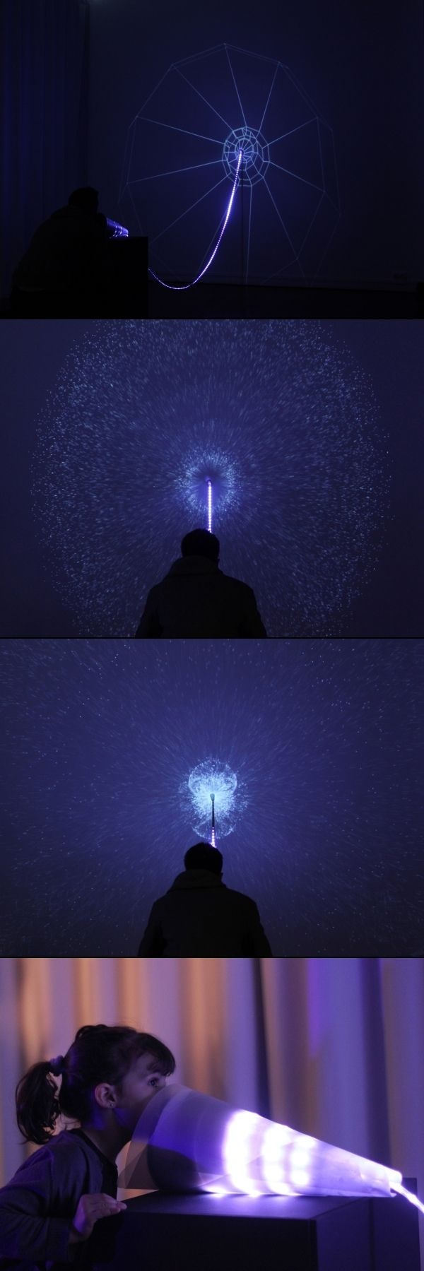 Murmur by Chevalvert, Paris — Visual echo on a wall generated from sound input at the other end of a material/light string