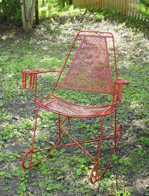 Metal Patio Rocking Chair Mid Century Modern Outdoor