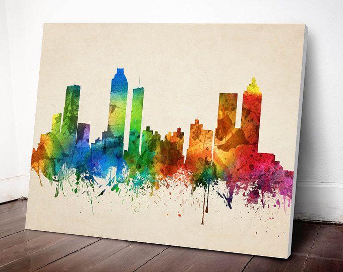 Paisaje urbano de Atlanta, impresión del arte de Atlanta, Atlanta horizonte lona impresión, decoración para el hogar, Idea, USGAAT05C de regalo