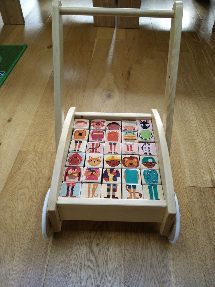 Olliblocks blokkenkar, houten blokken (wooden blocks), olliblocks