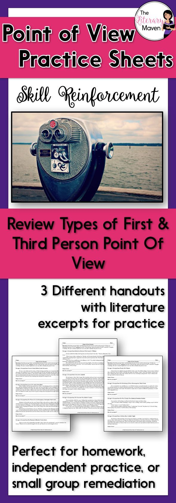 These three handouts allow students to practice identifying point of view: first person point of view, third person limited point of view, third person omniscient point of view, and third person objective point of view. To help students determine the point of view, they will underline any parts of the passages where the narrator reveals a character's thoughts or feelings. Students will also provide an explanation of how they identified the point of view. These handouts could be used for ...