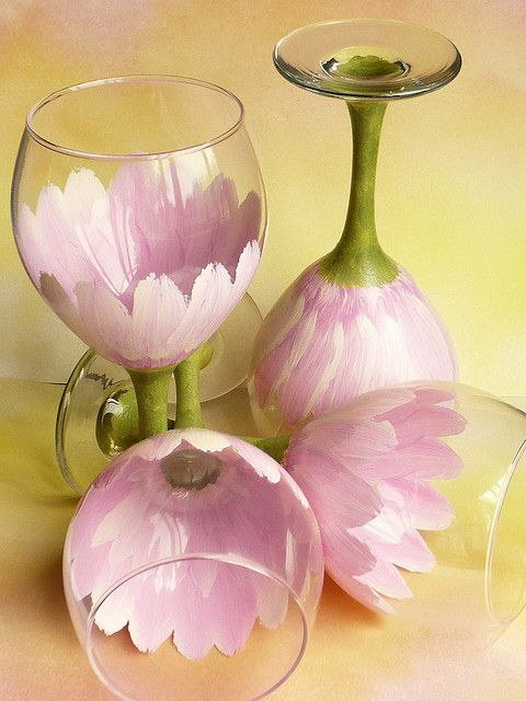 Hand Painted pink daisy Wine Goblets by judipaintedit, via Flickr