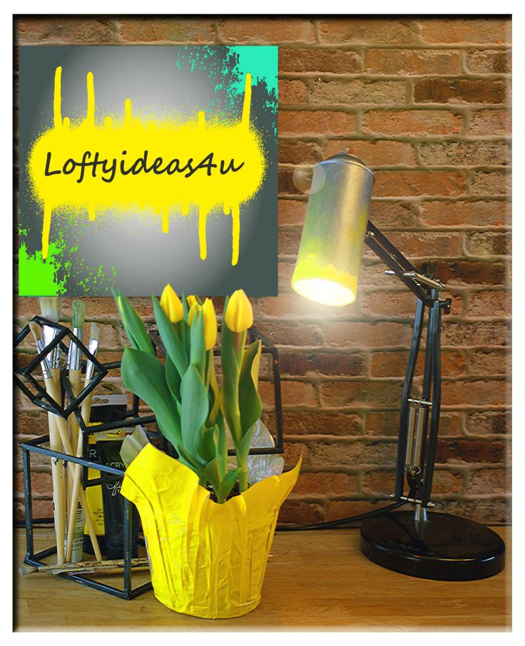 Modern Artistic Urban Industrial Re-purposed Yellow Spray Paint Can with Black Adjustable Desk Lamp Light by Loftyiedas4u by Loftyideas4u on Etsy
