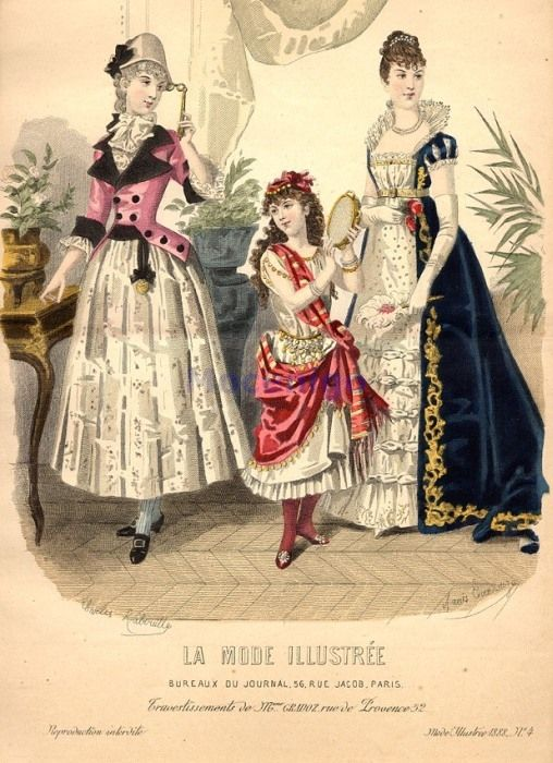 Fancy dress, 1888 France, La Mode Illustree    1780's Lady, gypsy girl, Empress Josephine