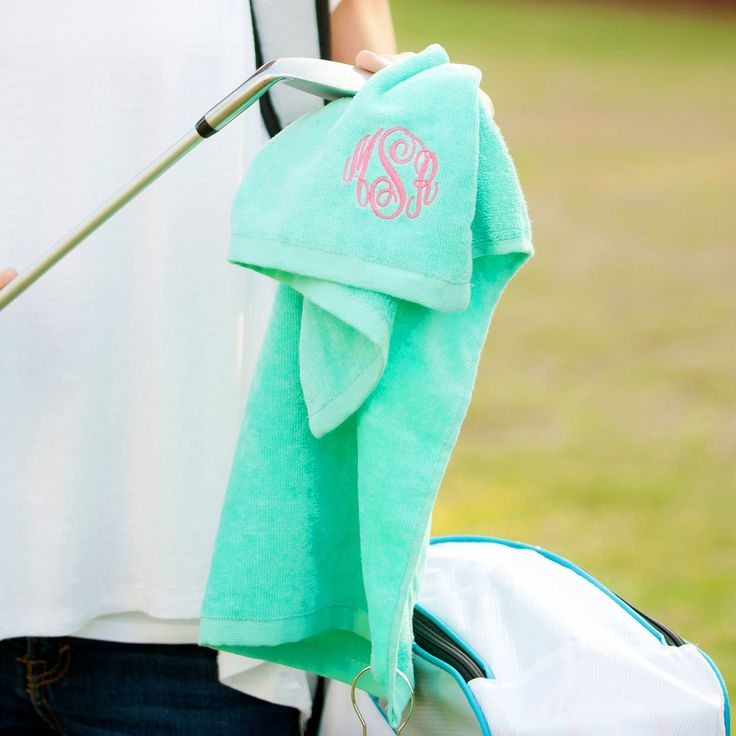 MINT GOLF TOWEL - Monogrammed golf towel - Personalized golf towel - Turquoise golf towel - Gifts under 15 - Mothers Day gift - Easter gifts by GracieMaeGifts on Etsy