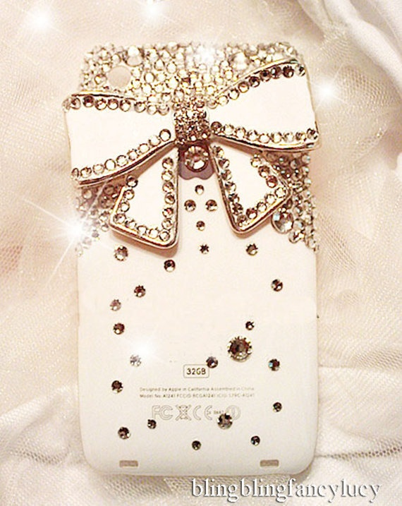 Handmade Bling Crystal WHITE Case Cover WHITE Bow for iPhone 3 3G 3GS,KD3b