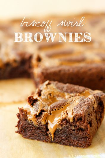 Biscoff Brownies per http://unsophisticook.com/biscoff-brownies/ these luscious Biscoff Brownies were created by swirling Biscoff Spread into my favorite brownie batter for a new twist on an old classic!