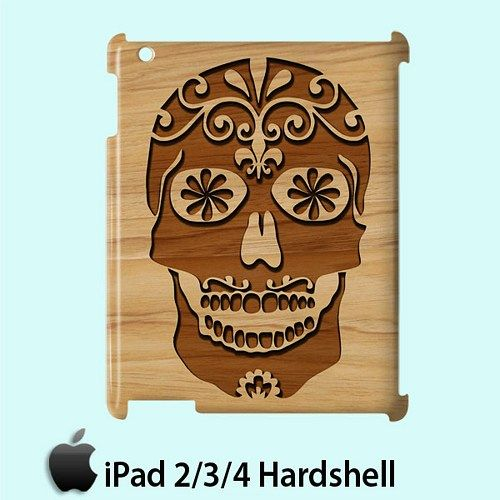 Carving Skull Surgar Style Wood Case for Apple iPad 2 3 4