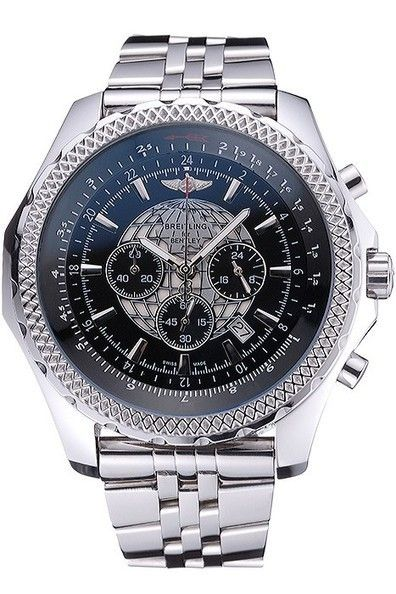 Replica Breitling Bentley B05 Unitime Chronograph Polished Stainless Steel Cutwork Bezel Black Dial Watch With Polished Stainless Steel Bracelet