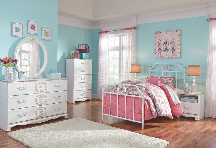 vintage inspired scrolled metal twin bed and white dresser set