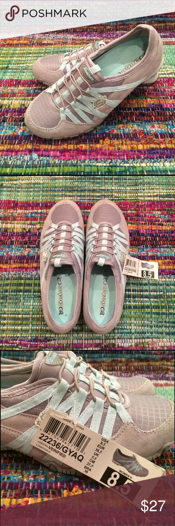 """Skechers sporty shoe size 8.5 Adorable, very sporty lightweight Skechers """"Bikers"""" shoe.  Brand new with tags.  Gray with baby blue/aqua detailing.  Nylon and soft plush suede. Nice arch support.  Very cute. Skechers Shoes Sneakers"""