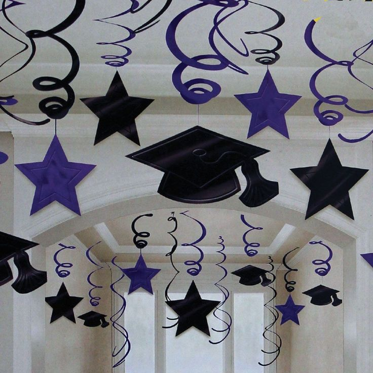 Purple Graduation Swirls Decorations - 30 Set