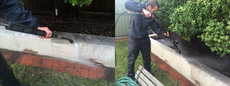 In this picture we are cleaning rendered retainer wall. With the right nozzle there is no chance of damage.