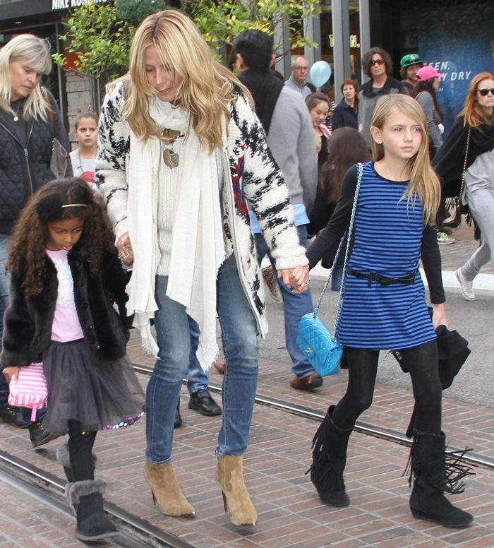 Heidi Klum takes her children to Santa's Grotto at The Grove in Los Angeles on December 20, 2014