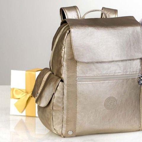 $139 Gideon Large Metallic Backpack - Champagne Metallic
