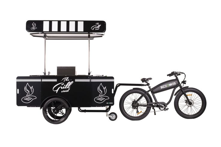 Professional grilled food cart and bike for street food vending.