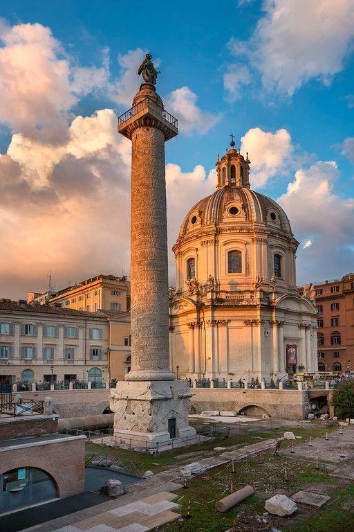 Trajan's Column and Santa Maria di Loreto Church in the Evening, Rome, Italy