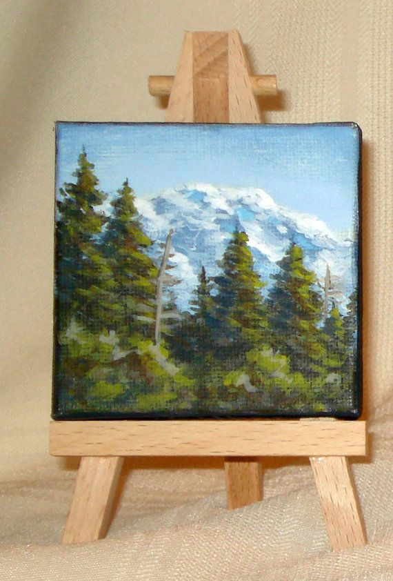 Miniature painting of mountain and pine trees by WindOnThePrairie, $25.00