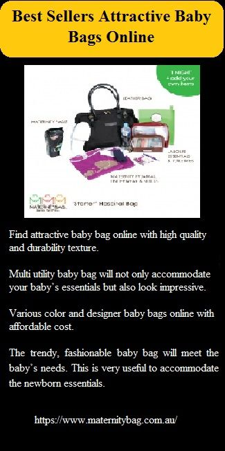 Find various color and designer #babybags online with affordable cost. Being parents means being prepared and this pretty bag is the ideal choice to carry all baby essentials easily.  Little baby has more requirements and the baby bag is the ideal choice to meet the requirements of the baby relevantly.