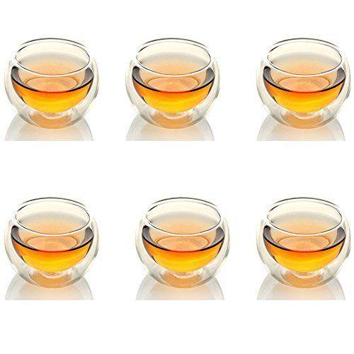 artlass vin 6pièces Tasse à thé en verre borosilicate Transparent 50ml tasse à café tasse: Léger et durable y compris 6tasses 50ml…