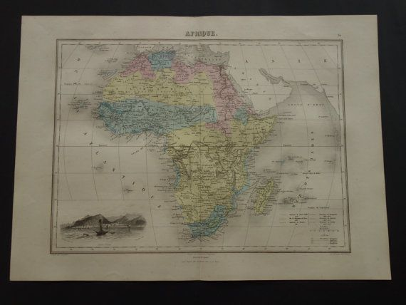 AFRICA old map LARGE hand colored print 1883 by DecorativePrints