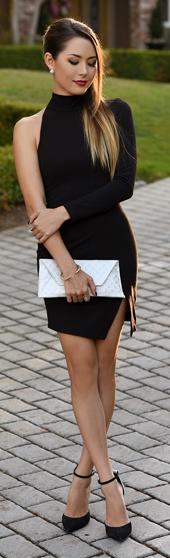 Halter Little Black Dress and Pointed Toe Pumps. Hapa Time. Beauty on High Heels #Fashion