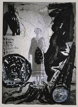 Yggdrasil, ca. 1980. Anselm Kiefer (German, born 1945). Gouache and acrylic on photograph. In one of the Old Norse Eddic poems, the Ballad of Gimnir (or Odin, chief of the gods, who narrates), the structure of the universe is described as a vast evergreen ash tree, Yggdrasil. Posing as the tree here is Kiefer himself in a self-portrait photograph taken in 1969, in which he wears a crocheted dress and holds a branch (it has been pointed out that die Kiefer in German is a type of pine tree). He has painted in the stump of the tree on which he stands and adds a serpentlike dragon, Nidhöggs, who gnaws at its roots. At left the world itself is represented by a rough caricature of a snow globe in which pines surround a little house, a quaint scene that brings to mind scenes of the Black Forest where the artist was raised.    Source: Anselm Kiefer: Yggdrasil (1995.14.36) | Heilbrunn Timeline of Art History | The Metropolitan Museum of Art: 1980 Met, The Artists, Heilbrunn Timeline, Anselm Kiefer, Art History, 1980 Anselm, Kiefer German, Born 1945, Metropolitan Museums