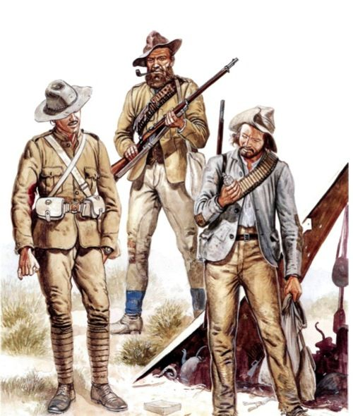 """Boer war circa 1901. A British infantry officer (left) and two """"Bitter-enders."""" (Could be Christaan and Hendriksen.) From """"Boer Wars (2) 1898-1902"""" by Ian Knight, Osprey Books, 1997 UK. Color plate G."""
