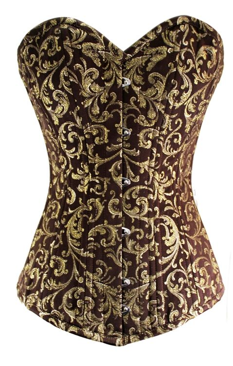 LONG Gold Waist Training Steel Boned Corset