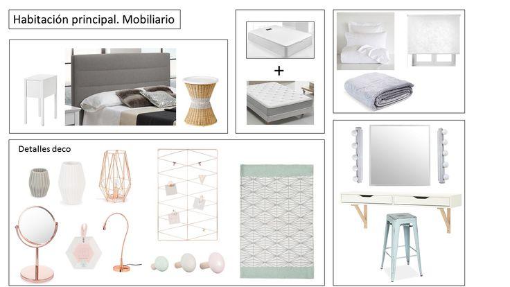 Detalles deco de la habitación, shopping list. Proyecto Home Staging