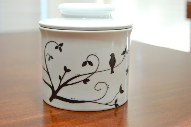permanent marker to add design to glass or porcelain