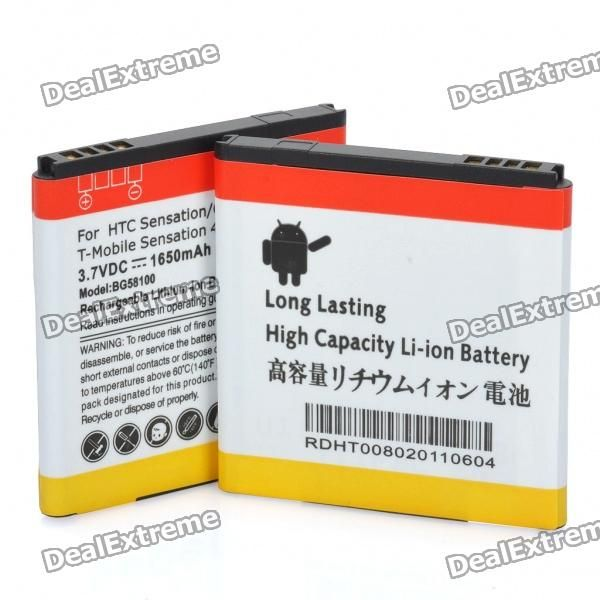 Voltage: 3.7V - Capacity: 1650mAh - Compatible with HTC Sensation G14 - Great replacement for your old, damaged, or worn out battery - Or keep it as a spare battery for your cell phone - Comes as a pair http://j.mp/1v38JCx