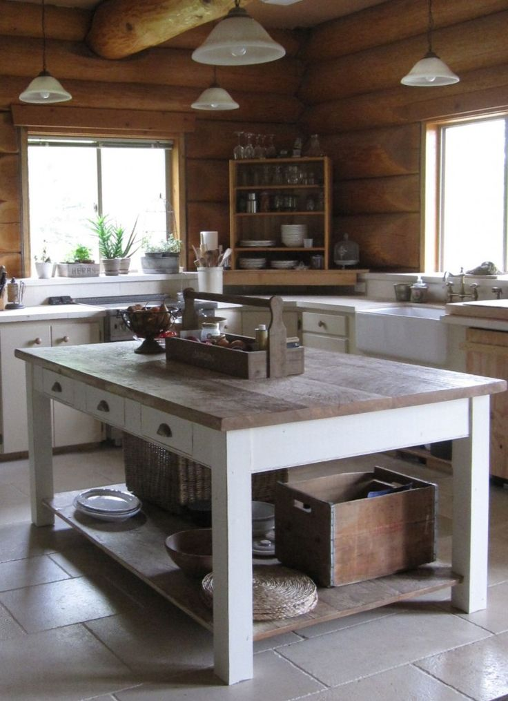 Light cabinets Light tile flooring loghome kitchen