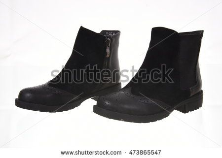 Pair of woman boot isolated on white background
