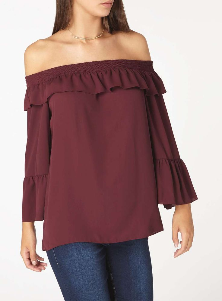 Womens **Tall Wine Red Ruffle Bardot Top- Red