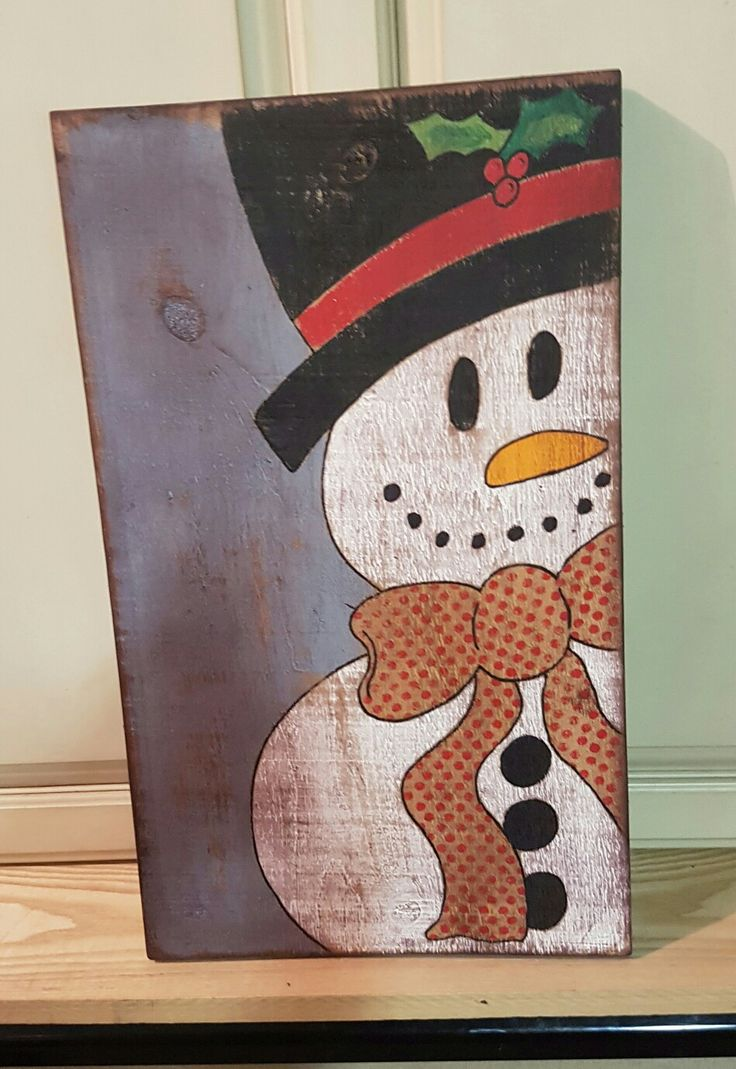 Huge big wood board antiqued and gorgeous. I love snowman.