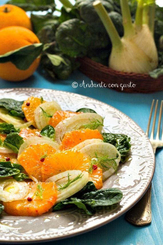 Andante con gusto: Insalata di arance finocchiella e spinaci novelli ai due pepi per la Giornata Nazionale dell'insalata di Arance e Finocchi