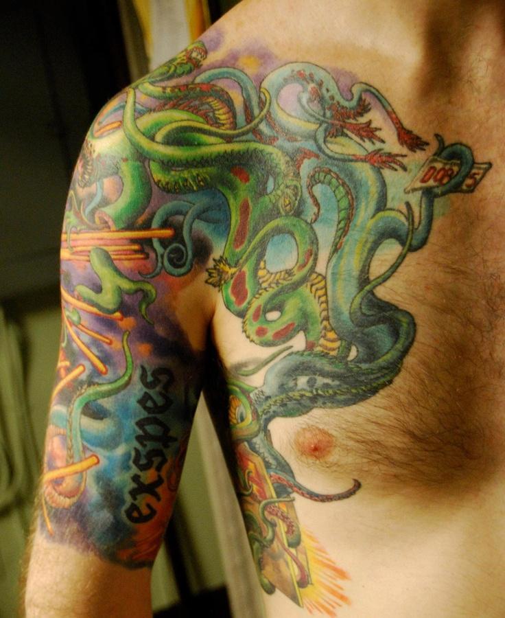 Damon Conklin, Super Genius Tattoo, Seattle WA, color tattoo, space alien, lazer beams