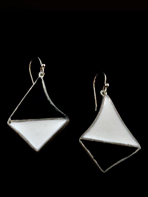Earrings with cold enamel