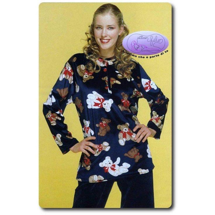 Abbigliamento pigiameria: Pigiama da Donna lungo in ciniglia con simpatici orsetti sulla maglia.