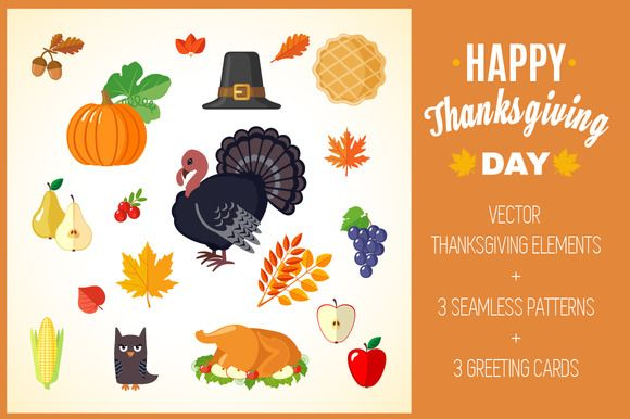 Set of Thanksgiving Elements  by romawka on @creativemarket