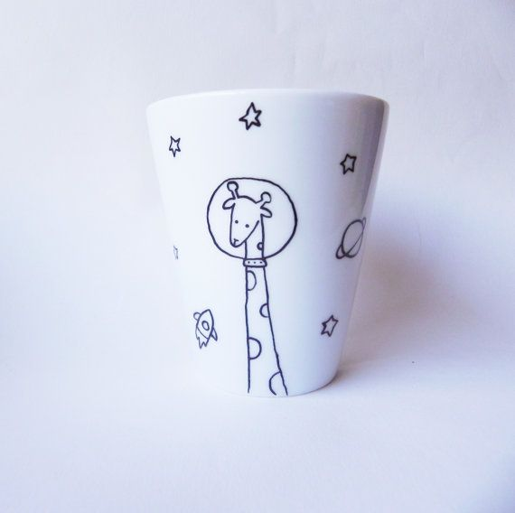 Limited edition Space Giraffe, hand painted white porcelain mug - coffee mug