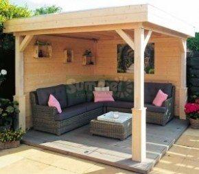 Wooden Gazebo 368 - Pent Roof, Fully Boarded Walls. -Garden Gazebo Ideas-