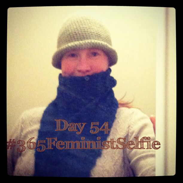 I do have other hats! This one fell out of the closet today, so I decided to wear it for the evening dog walk. It's not as warm as it appears... Back in the closet it goes! #365FeministSelfie day 54