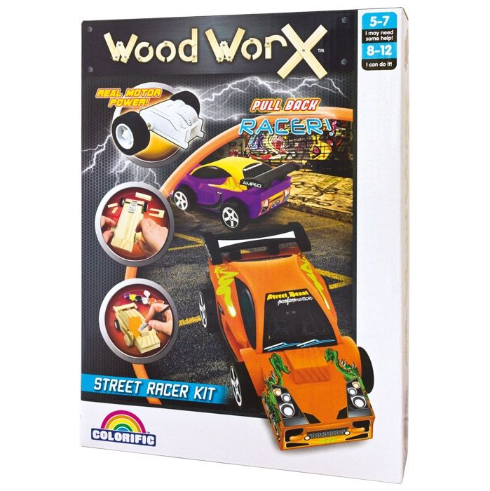 Drivers, start your engines and get ready to race a car built with your own hands. Woodworx Pull Back Racing Car